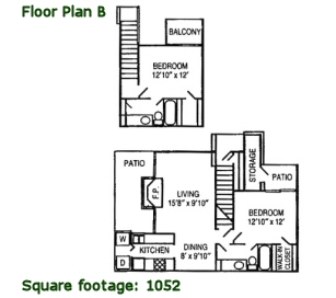 1,052 sq. ft. B floor plan