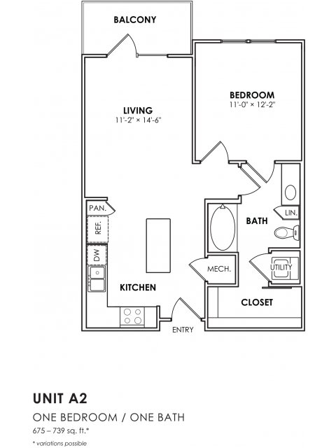 693 sq. ft. A2 floor plan