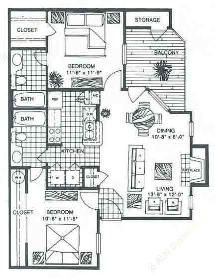 847 sq. ft. B2 floor plan