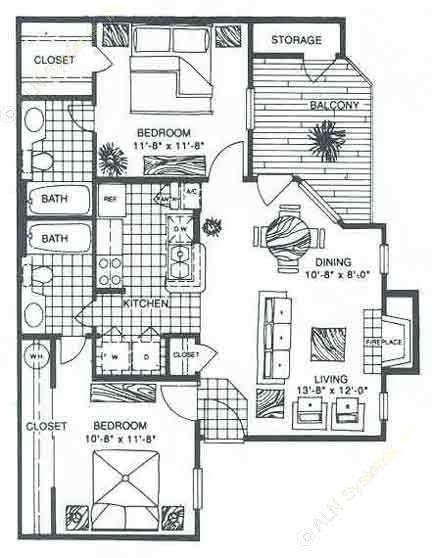 847 sq. ft. B2 floor plan