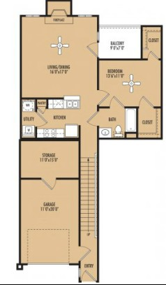 1,074 sq. ft. Rhythm w/Garage floor plan