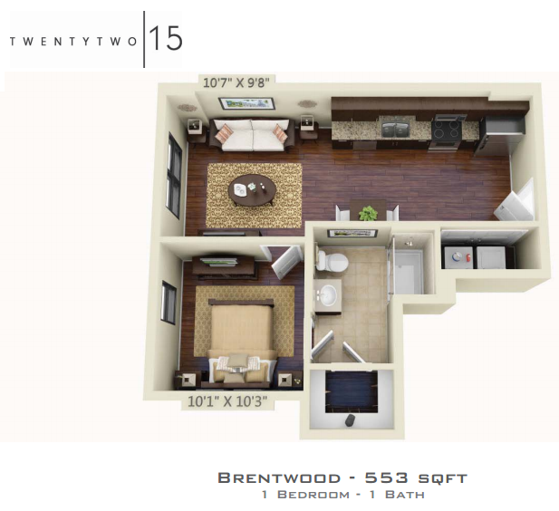 553 sq. ft. BRENTWOOD floor plan