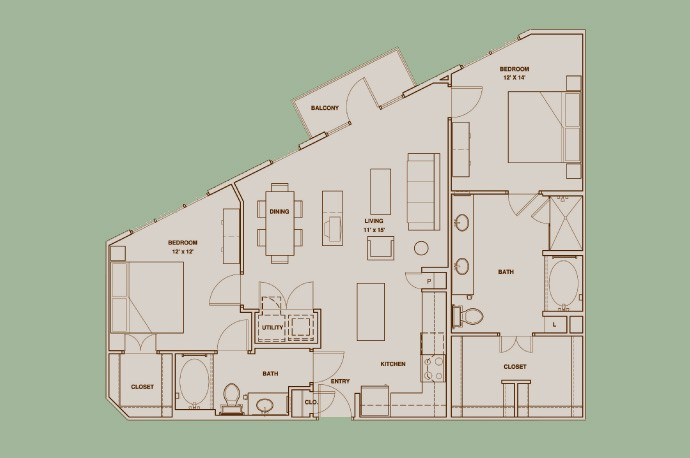 1,196 sq. ft. B2 floor plan