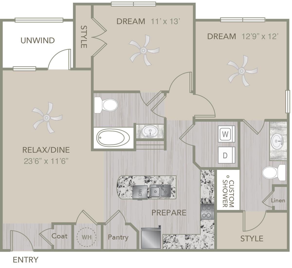1,121 sq. ft. B7 floor plan