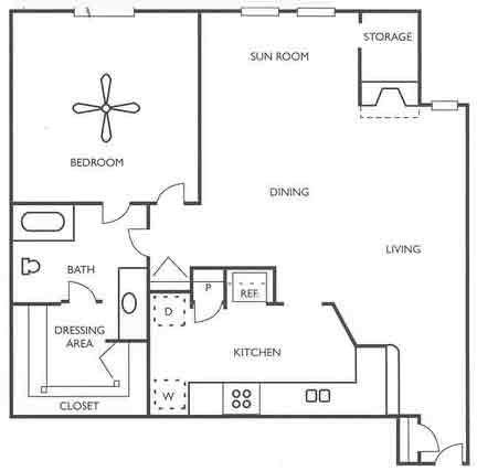 834 sq. ft. Chisholm floor plan