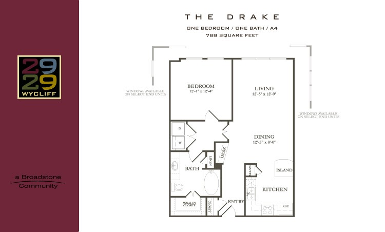 788 sq. ft. Drake floor plan