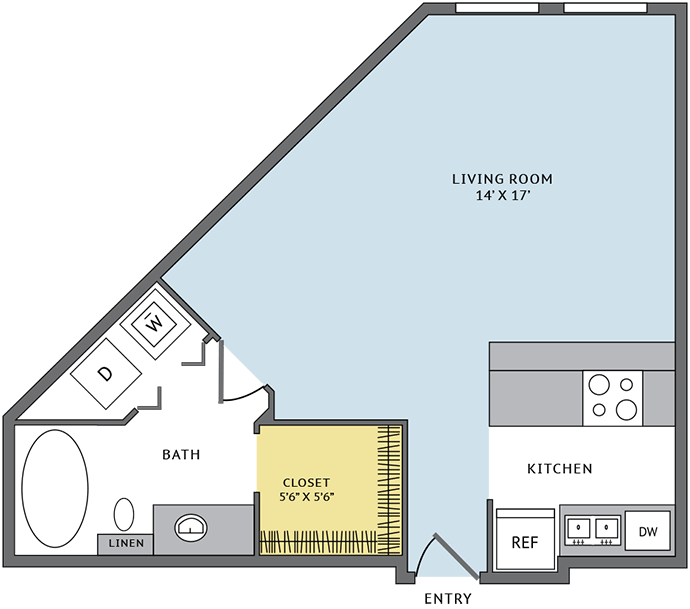 551 sq. ft. 01A floor plan