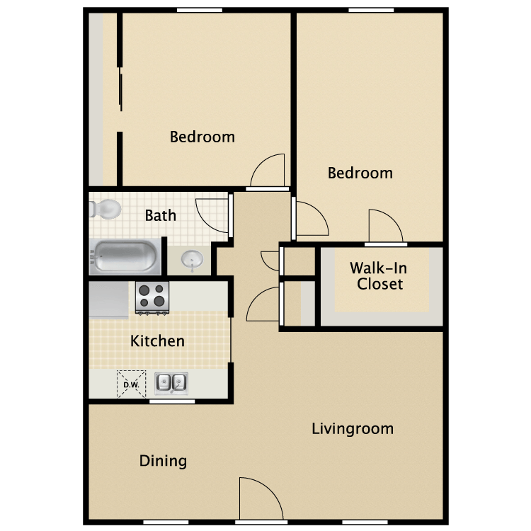 850 sq. ft. Charleston floor plan