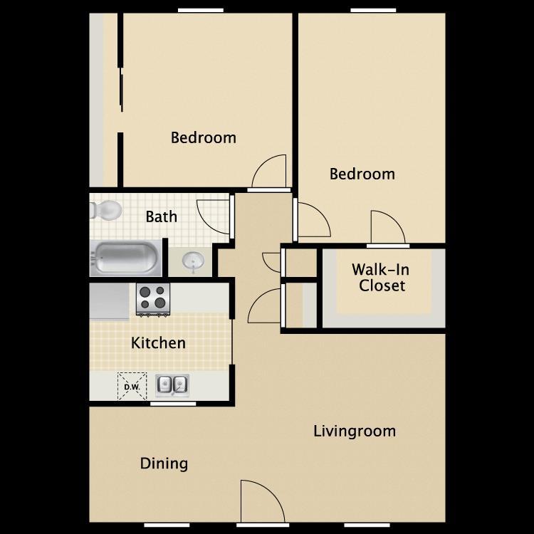 850 sq. ft. Charleston floor plan