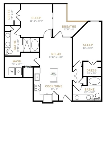 1,027 sq. ft. B2A floor plan