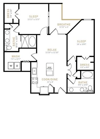 1,027 sq. ft. B2A floor plan