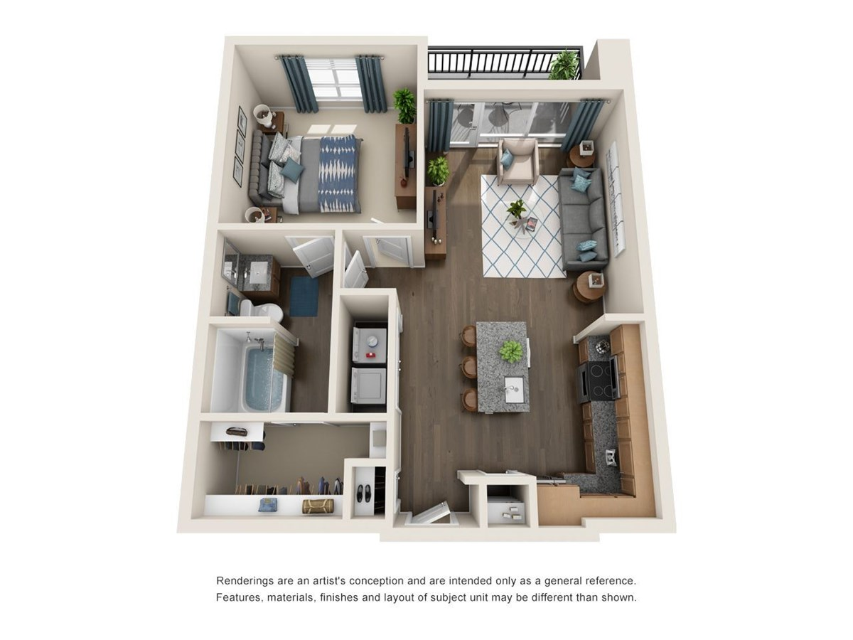 741 sq. ft. A3 floor plan