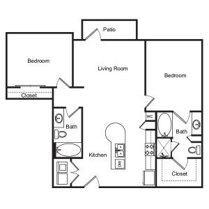 1,039 sq. ft. Lantana floor plan