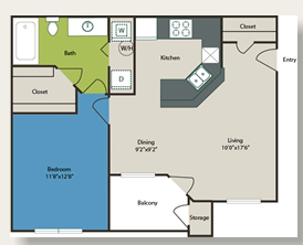 667 sq. ft. 1b w/Carport floor plan