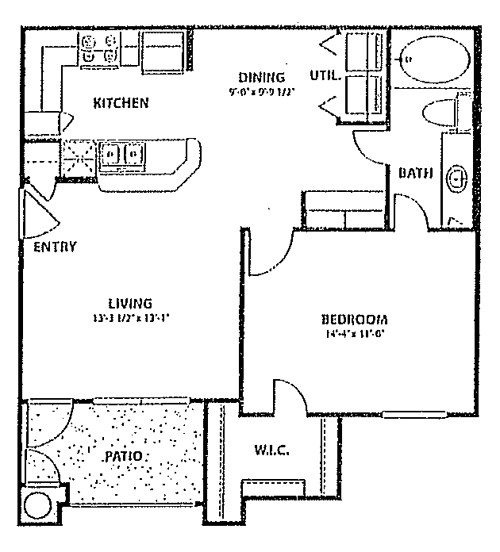 718 sq. ft. to 788 sq. ft. 60% floor plan
