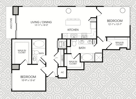 1,388 sq. ft. B11 floor plan