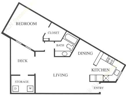 748 sq. ft. A4-Base floor plan