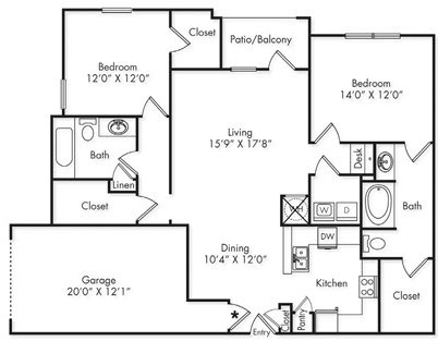 1,324 sq. ft. B2 floor plan
