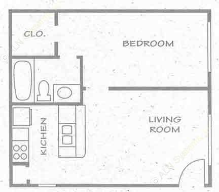 486 sq. ft. A1 PH I floor plan