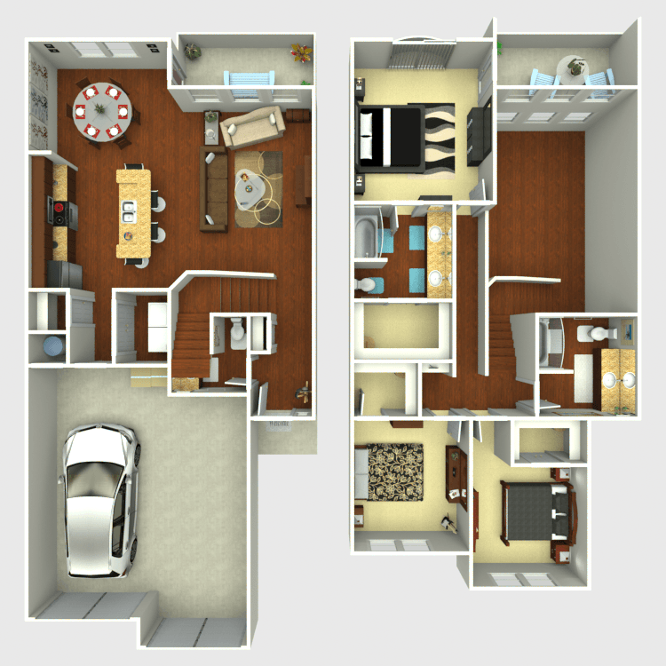 1,705 sq. ft. C2 floor plan