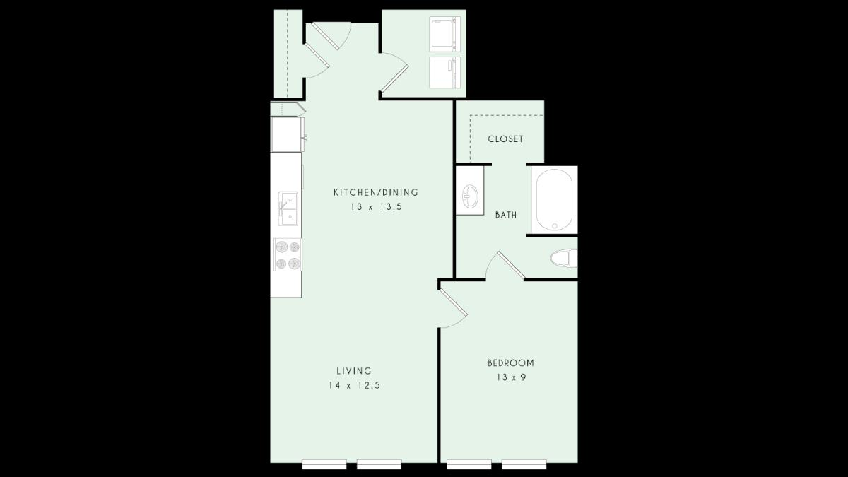 757 sq. ft. A12 80% floor plan