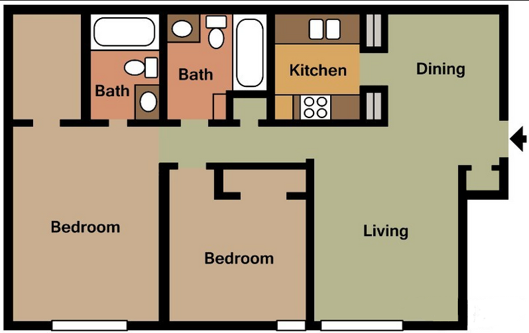 902 sq. ft. B floor plan