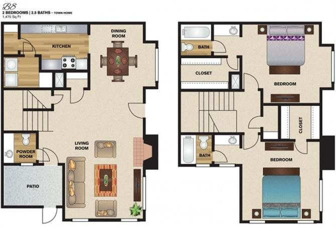 1,470 sq. ft. B8 floor plan