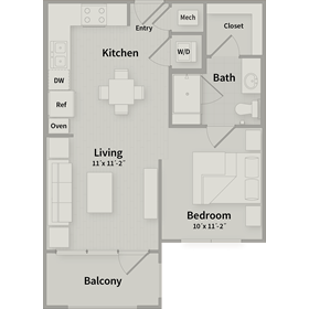 539 sq. ft. EFF floor plan