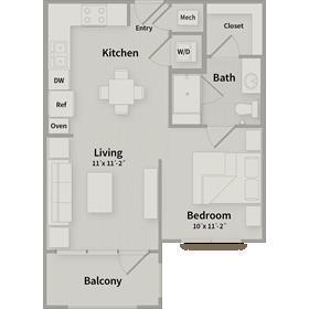 539 sq. ft. EFF floor plan