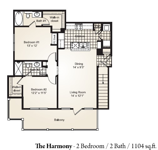 1,104 sq. ft. HARMONY floor plan