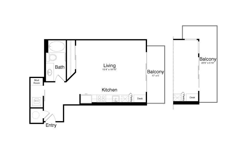 645 sq. ft. E5 floor plan