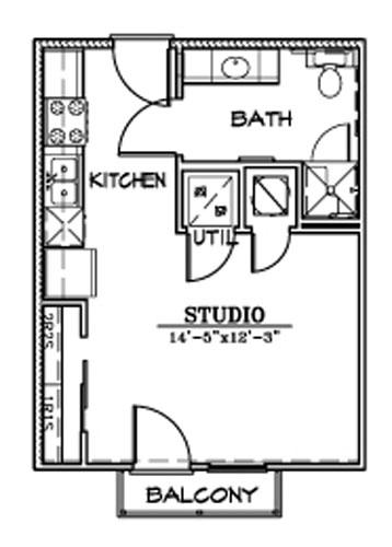 396 sq. ft. E1 floor plan
