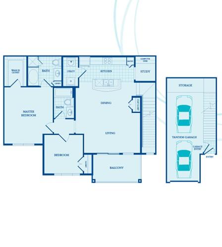 1,216 sq. ft. Sherwood -GAR floor plan