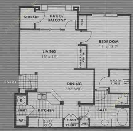 805 sq. ft. A6 floor plan