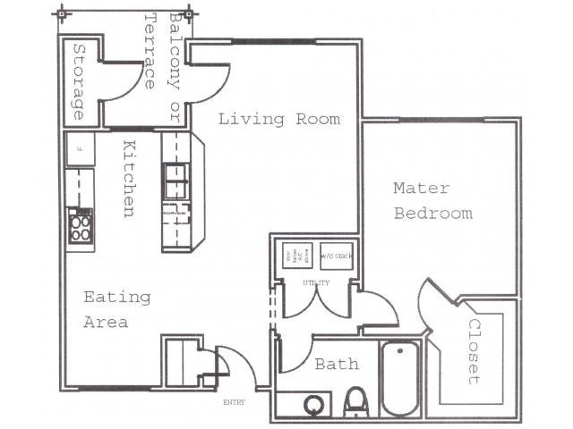 692 sq. ft. A4 floor plan