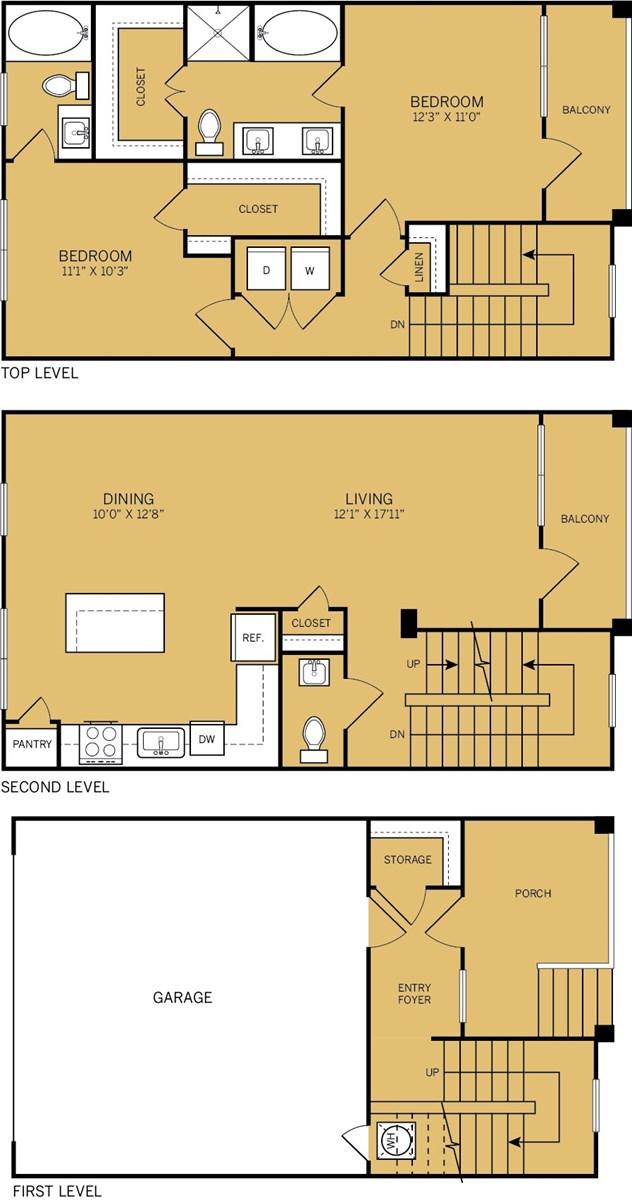 1,450 sq. ft. T1 floor plan
