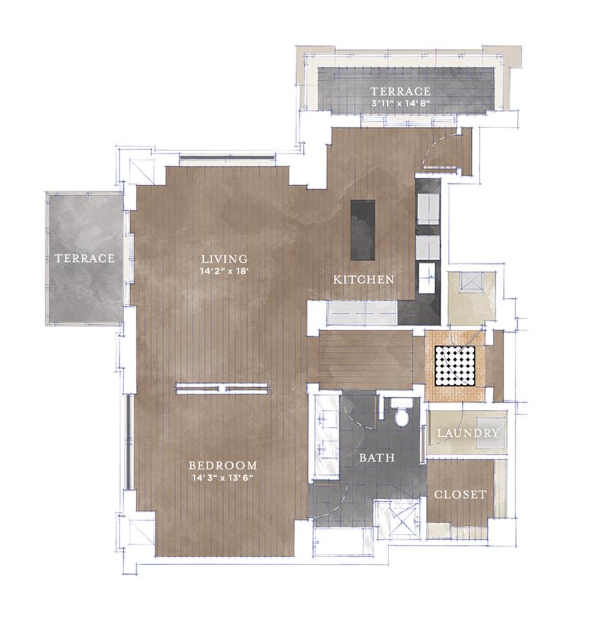 1,024 sq. ft. A2.2 floor plan
