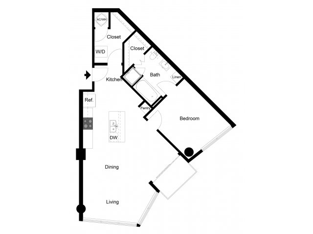 867 sq. ft. 1H floor plan