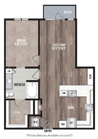 825 sq. ft. A1.7 floor plan