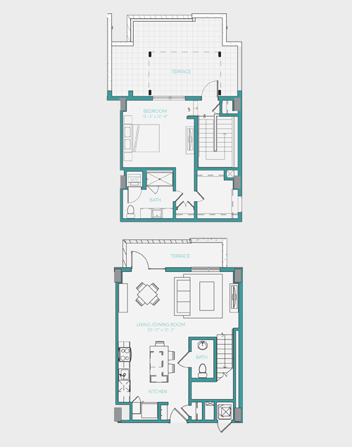 1,086 sq. ft. A7.3 floor plan