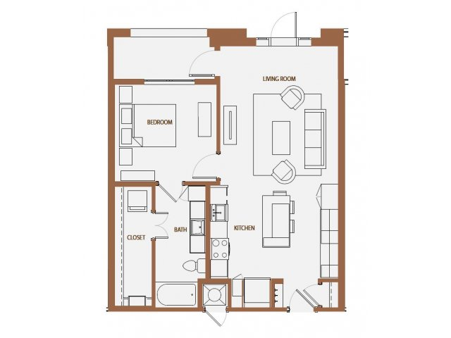 790 sq. ft. A2-3 floor plan