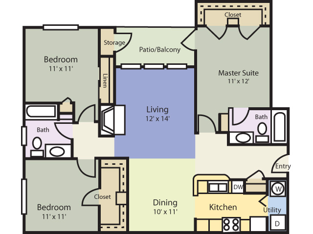1,278 sq. ft. Pine floor plan