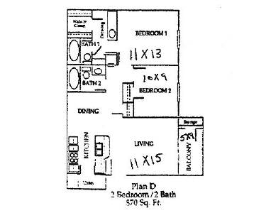 870 sq. ft. floor plan
