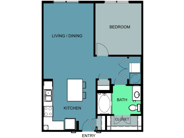 744 sq. ft. to 804 sq. ft. University floor plan