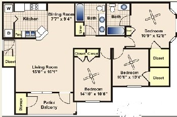 1,208 sq. ft. to 1,255 sq. ft. C1 floor plan