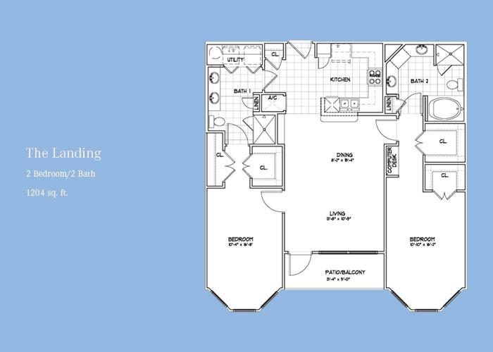 1,204 sq. ft. Landing floor plan