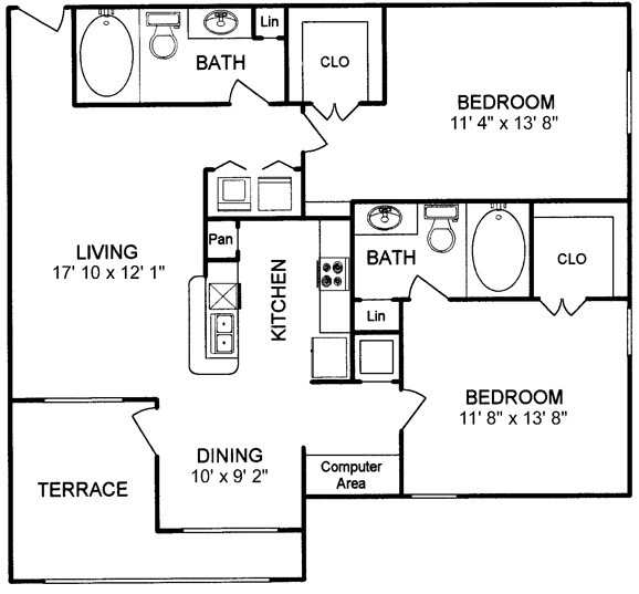 1,065 sq. ft. floor plan