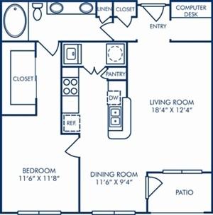 879 sq. ft. A5 floor plan