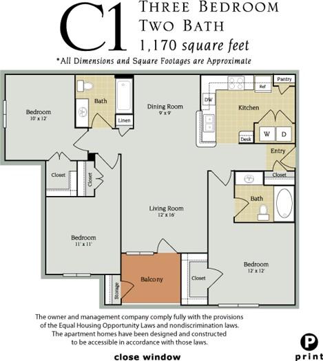 1,170 sq. ft. C1/60% floor plan