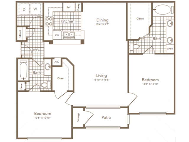 1,082 sq. ft. STERLING floor plan